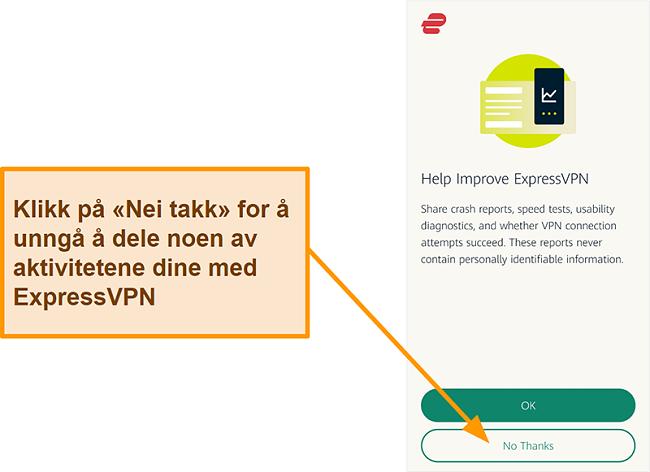 Skjermbilde av ExpressVPN-appen som ber om brukertillatelse til å dele krasjrapporter, hastighetstest og andre brukerdata med selskapet