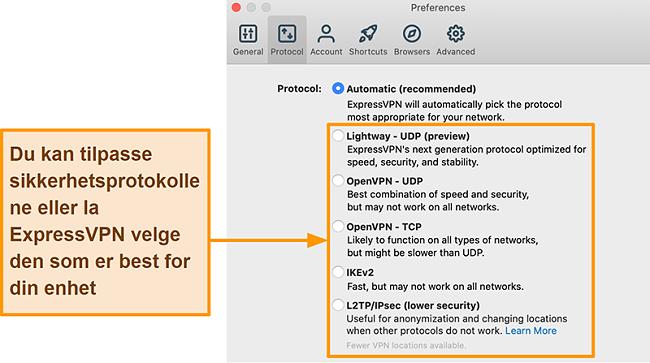 Skjermbilde av ExpressVPN-appen som viser alle tilgjengelige protokoller, inkludert Lightway, OpenVPN, IKEv2 og L2TP / IPsec