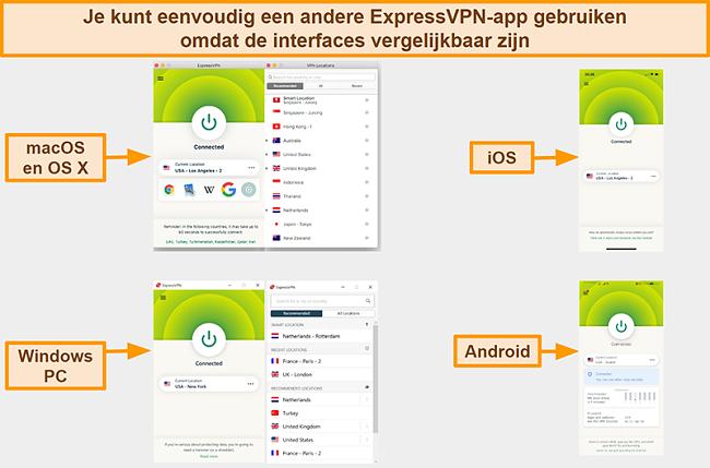 Screenshot van de app-interfaces van ExpressVPN voor Windows, Android, Mac en iPhone