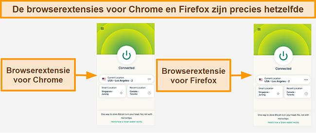 Screenshot van de ExpressVPN-browserextensie voor Google Chrome en Mozilla Firefox