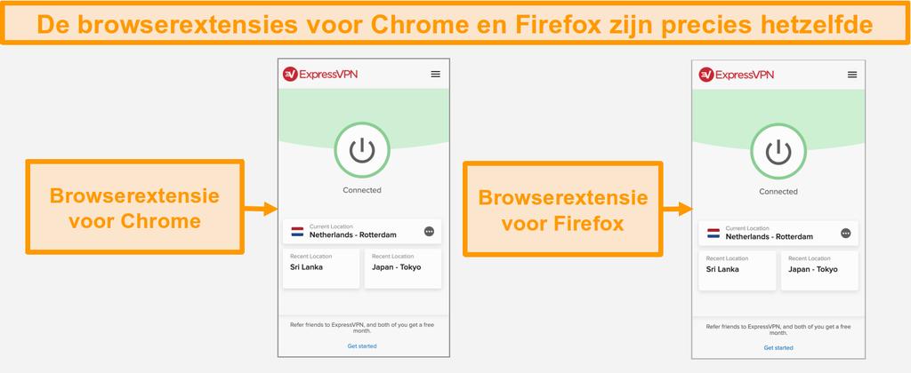 Screenshot van de browserextensies van ExpressVPN voor Chrome en Firefox
