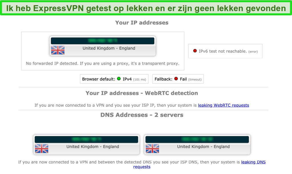 Screenshot van de lektestresultaten van ExpressVPN terwijl deze is verbonden met een server in het VK