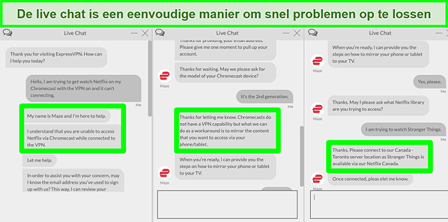 Screenshot van een gebruiker die via 24/7 live chat contact opneemt met ExpressVPN en vraagt hoe hij Netflix kan kijken met Chromecast