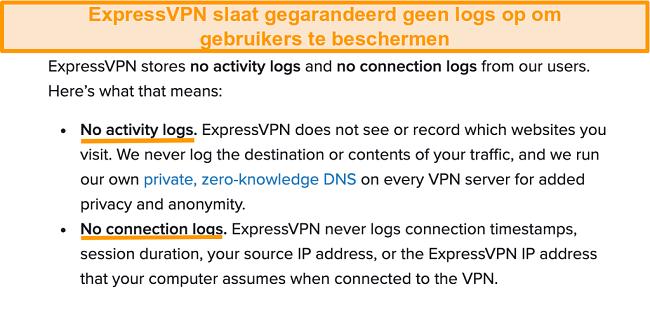 Screenshot van het privacybeleid van ExpressVPN op haar website