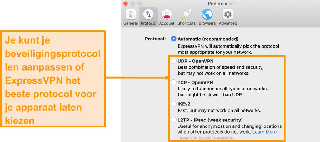 Screenshot van de beveiligingsprotocollen van ExpressVPN op de app