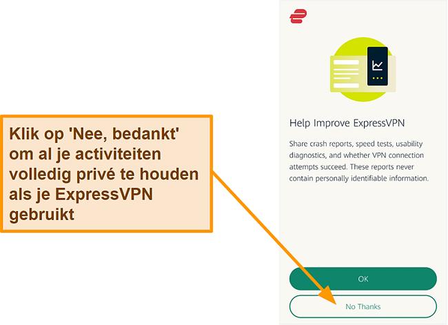 Screenshot van de ExpressVPN-app die om toestemming van de gebruiker vraagt om crashrapporten, snelheidstests en andere gebruikersgegevens met het bedrijf te delen