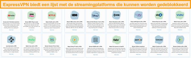 Schermafbeelding van de website van ExpressVPN met alle streamingdiensten die het kan deblokkeren, inclusief Netflix en BBC iPlayer
