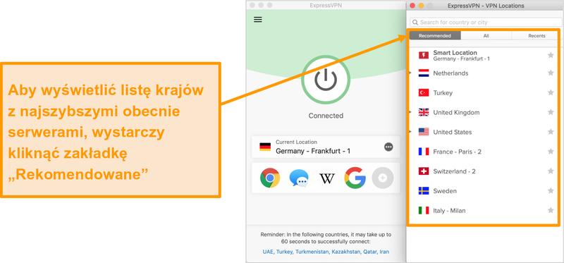 Zrzut ekranu aplikacji ExpressVPN pokazujący zalecane serwery