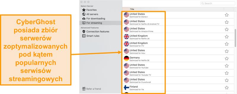 Zrzut ekranu aplikacji CyberGhost na komputery Mac, przedstawiający serwery zoptymalizowane do przesyłania strumieniowego