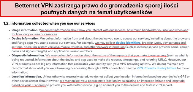 Zrzut ekranu polityki prywatności Betternet VPN