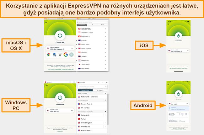 Zrzut ekranu interfejsów aplikacji ExpressVPN dla Windows, Androida, Maca i iPhone'a