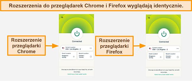 Zrzut ekranu rozszerzenia przeglądarki ExpressVPN dla Google Chrome i Mozilla Firefox