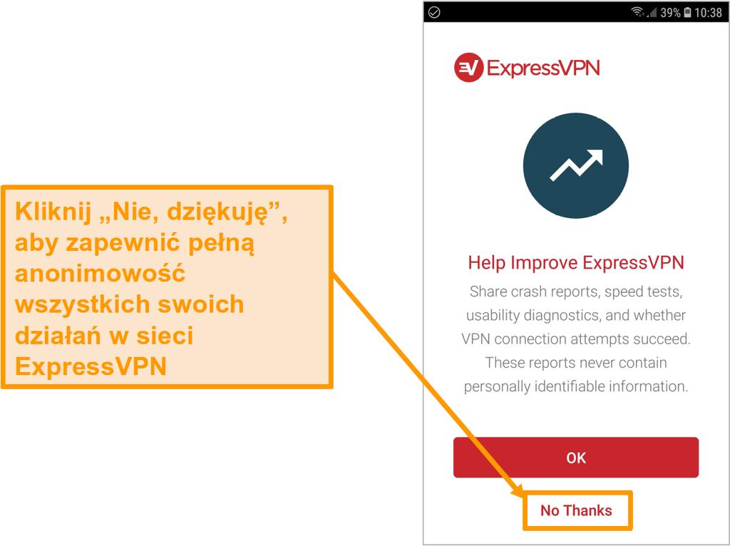 Zrzut ekranu aplikacji ExpressVPN na Androida z prośbą o dostęp do raportów o awariach, testów prędkości, diagnostyki użyteczności i awarii połączenia VPN