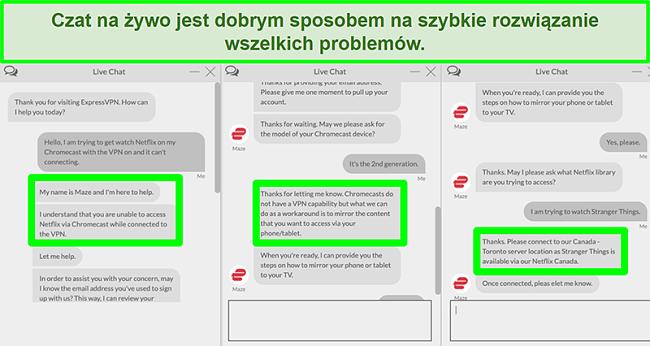 Zrzut ekranu użytkownika kontaktującego się z ExpressVPN przez czat na żywo 24/7 i pytającego, jak oglądać Netflix za pomocą Chromecasta