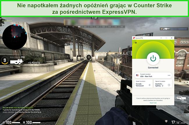 Zrzut ekranu przedstawiający połączenie ExpressPVN z serwerem w USA, gdy użytkownik gra w Counterstrike