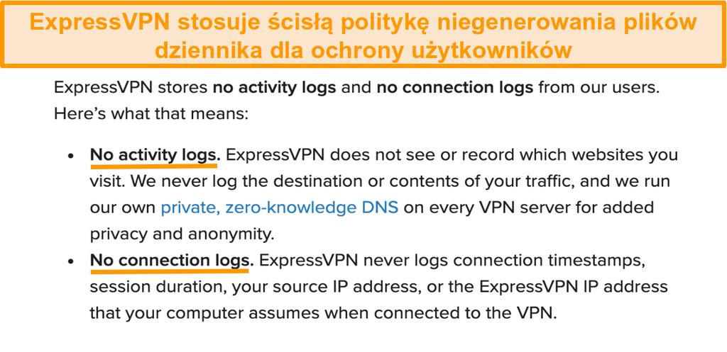 Zrzut ekranu polityki prywatności ExpressVPN na swojej stronie internetowej