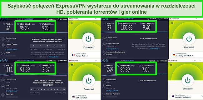 Zrzuty ekranu z wynikami testu prędkości ExpressVPN podczas połączenia z różnymi serwerami na całym świecie