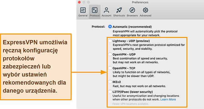 Zrzut ekranu aplikacji ExpressVPN wyświetlający wszystkie dostępne protokoły, w tym Lightway, OpenVPN, IKEv2 i L2TP / IPsec