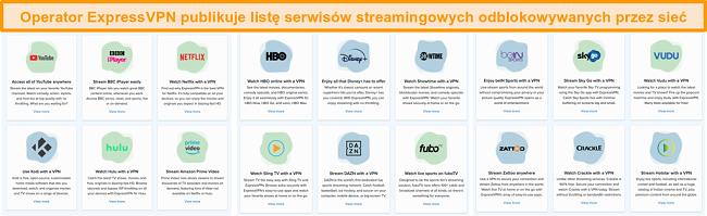 Zrzut ekranu strony internetowej ExpressVPN zawierającej wszystkie usługi przesyłania strumieniowego, które może odblokować, w tym Netflix i BBC iPlayer