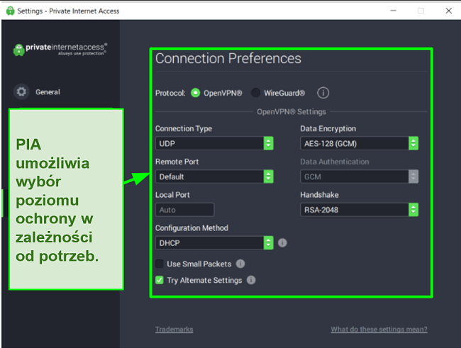 Zrzut ekranu z dostępnymi ustawieniami zabezpieczeń PIA