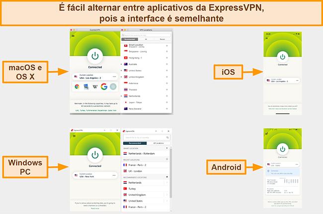 Captura de tela das interfaces do aplicativo ExpressVPN para Windows, Android, Mac e iPhone