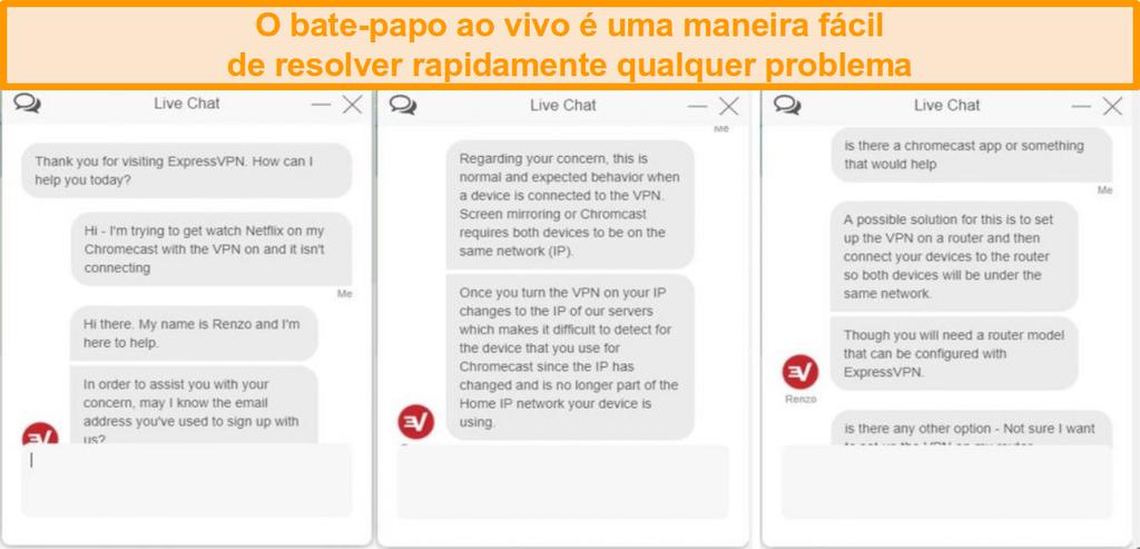Captura de tela de uma conversa de bate-papo ao vivo com um representante de serviço ao cliente ExpressVPN