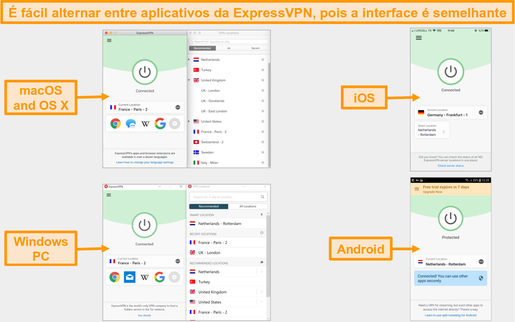 Comparação da interface e do layout do aplicativo ExpressVPN para mac, OS X, iOS, Windows e Android