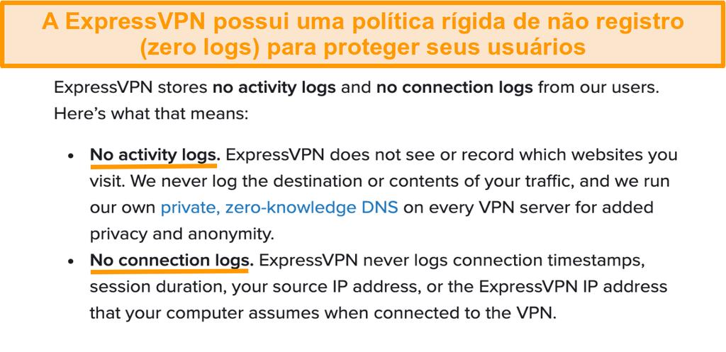 Captura de tela da política de privacidade da ExpressVPN em seu site