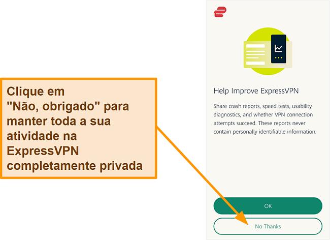 Captura de tela do aplicativo ExpressVPN solicitando permissão do usuário para compartilhar relatórios de falhas, teste de velocidade e outros dados do usuário com a empresa
