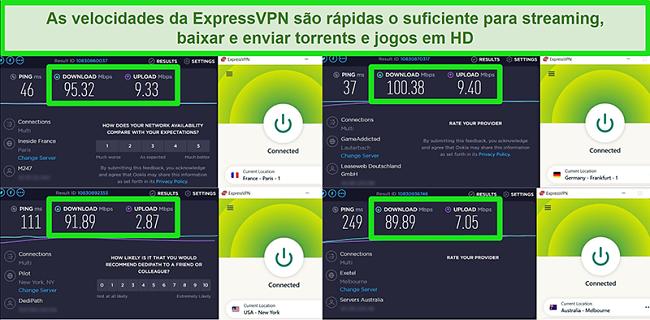 Capturas de tela dos resultados do teste de velocidade do ExpressVPN quando conectado a diferentes servidores globalmente