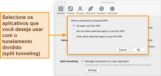 Captura de tela de um usuário configurando o recurso de túnel dividido no aplicativo ExpressVPN
