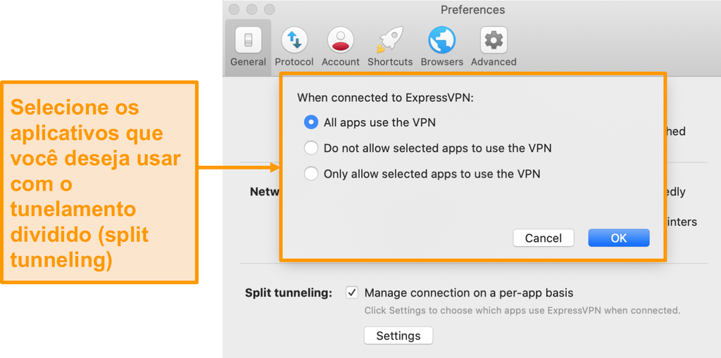 Captura de tela do recurso de tunelamento dividido do ExpressVPN no aplicativo Mac