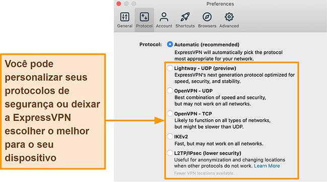 Captura de tela do aplicativo ExpressVPN exibindo todos os protocolos disponíveis, incluindo Lightway, OpenVPN, IKEv2 e L2TP / IPsec