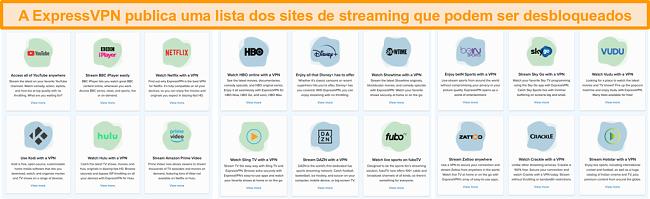 Captura de tela do site da ExpressVPN listando todos os serviços de streaming que podem ser desbloqueados, incluindo Netflix e BBC iPlayer