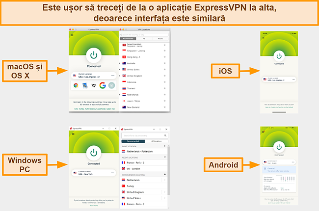 Captură de ecran a interfețelor aplicației ExpressVPN pentru Windows, Android, Mac și iPhone