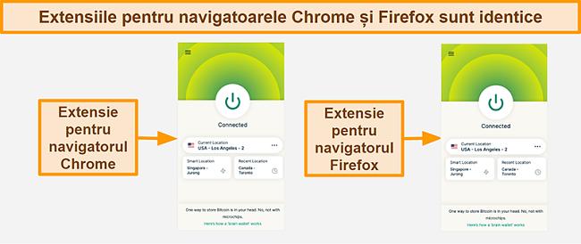 Captură de ecran a extensiei browserului ExpressVPN pentru Google Chrome și Mozilla Firefox