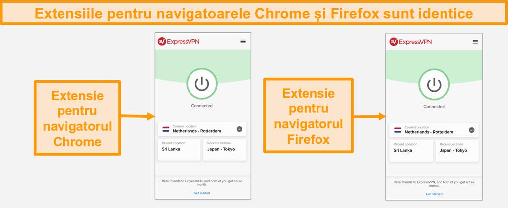 Captura de ecran a extensiilor de browser ExpressVPN pentru Chrome și Firefox