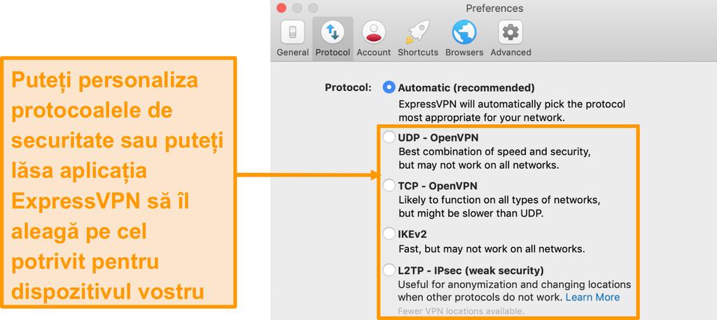 Captura de ecran a protocoalelor de securitate ExpressVPN din aplicație