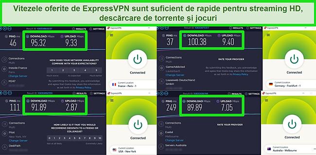 Capturi de ecran ale rezultatelor testului de viteză ale ExpressVPN atunci când sunt conectate la diferite servere la nivel global