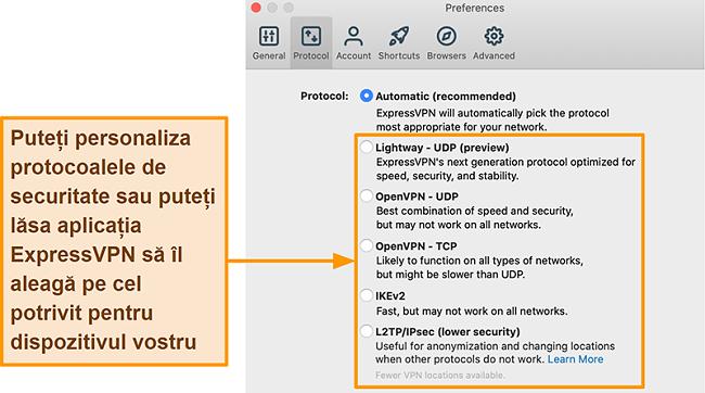 Captură de ecran a aplicației ExpressVPN care afișează toate protocoalele disponibile, inclusiv Lightway, OpenVPN, IKEv2 și L2TP / IPsec