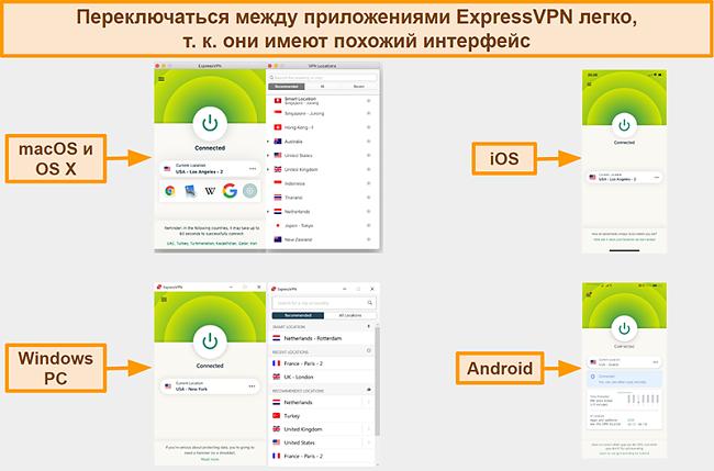 Скриншот интерфейсов приложений ExpressVPN для Windows, Android, Mac и iPhone