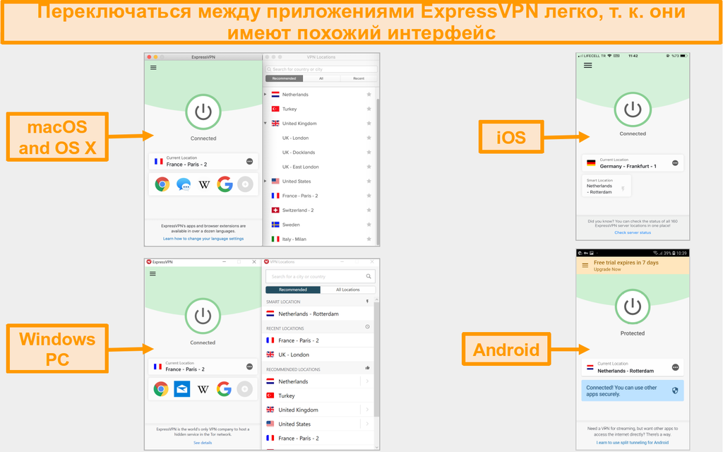 Сравнение пользовательского интерфейса и макета приложения ExpressVPN для Mac, OS X, iOS, Windows и Android