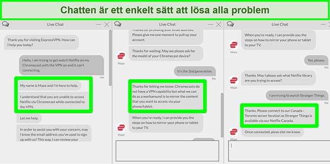 Skärmdump av en användare som kontaktar ExpressVPN över 24/7 livechatt och frågar hur man ser Netflix med Chromecast