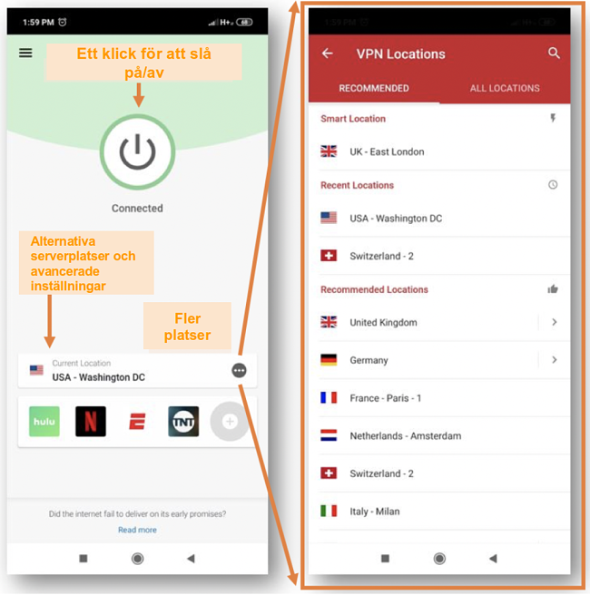 Skärmdump av ExpressVPN mobilapp