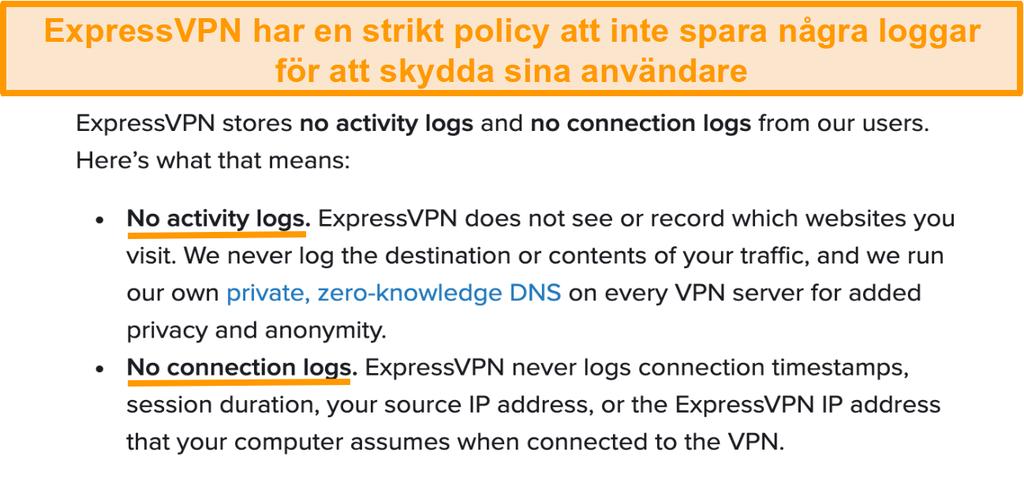 Skärmdump av ExpressVPNs sekretesspolicy på sin webbplats