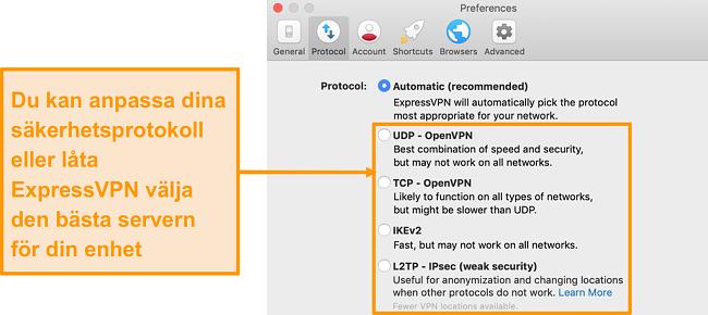 Skärmdump av ExpressVPNs säkerhetsprotokoll på appen