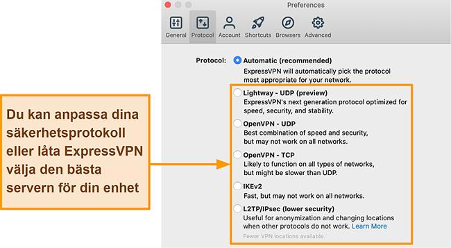 Skärmdump av ExpressVPN-appen som visar alla tillgängliga protokoll inklusive Lightway, OpenVPN, IKEv2 och L2TP / IPsec