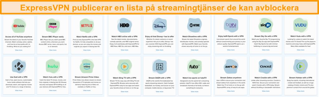 Skärmdump av ExpressVPNs webbplats med alla strömningstjänster som den kan avblockera, inklusive Netflix och BBC iPlayer