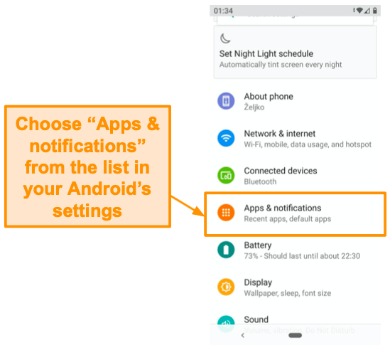 Screenshot of Android settings list