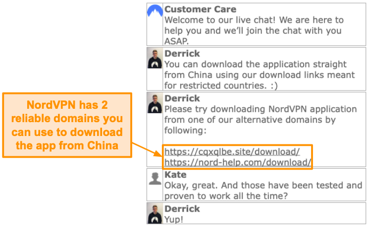Screenshot of NordVPN live chat feature